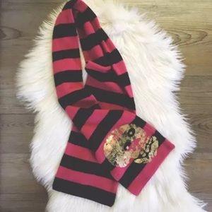 Betsey Johnson Black Red Striped Skull Scarf Punk